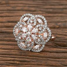 412304 Cz Classic Ring With Rose Gold Plating