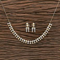 412308 Cz Classic Necklace With 2 Tone Plating