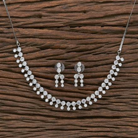 412309 Cz Classic Necklace With Rhodium Plating