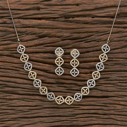 412311 Cz Classic Necklace With 2 Tone Plating