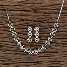 412312 Cz Classic Necklace With Rhodium Plating