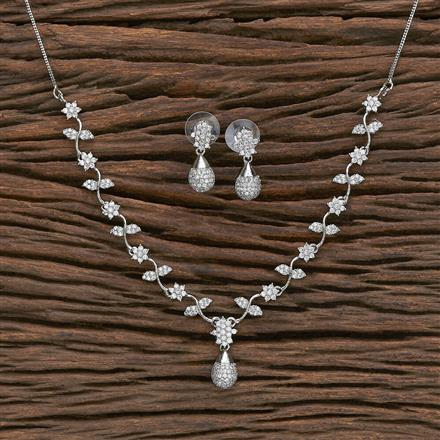412315 Cz Classic Necklace With Rhodium Plating