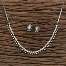 412317 Cz Delicate Necklace With Rhodium Plating