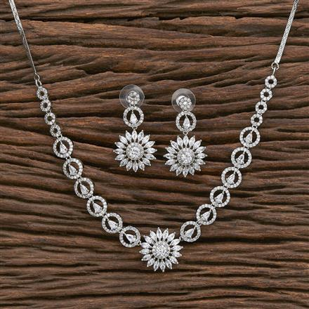 412329 Cz Classic Necklace With Rhodium Plating