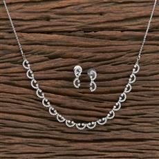 412335 Cz Classic Necklace With Rhodium Plating