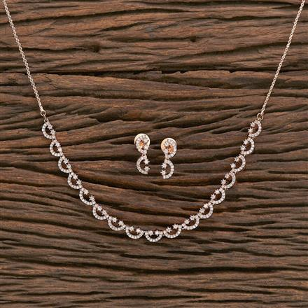 412336 Cz Classic Necklace With Rose Gold Plating