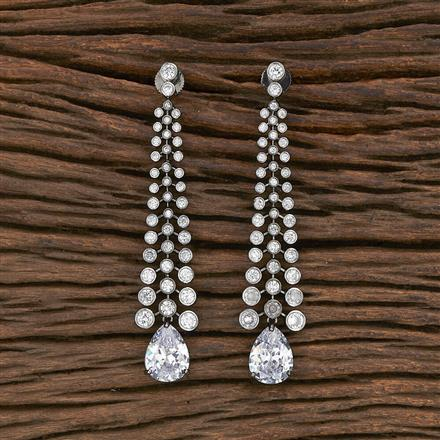 412355 Cz Long Earring With Black Plating