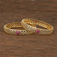 412388 Cz Classic Bangles With 2 Tone Plating