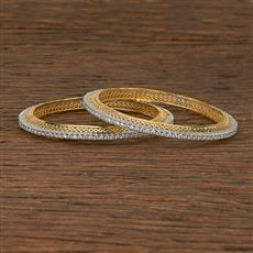 412389 Cz Classic Bangles With 2 Tone Plating