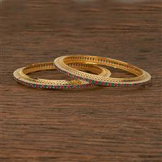 412391 Cz Classic Bangles With Gold Plating