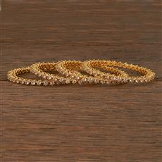 412392 Cz Classic Bangles With Gold Plating