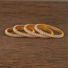 412393 Cz Classic Bangles With Gold Plating