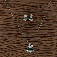 412409 Cz Classic Pendant Set With Rhodium Plating