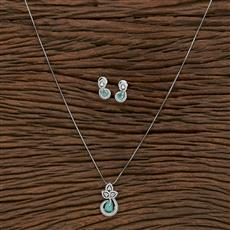 412411 Cz Classic Pendant Set With Rhodium Plating