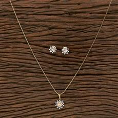 412412 Cz Classic Pendant Set With 2 Tone Plating