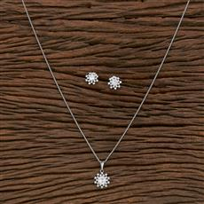 412413 Cz Classic Pendant Set With Rhodium Plating