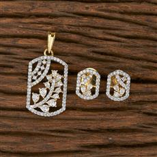 412419 Cz Classic Pendant Set With 2 Tone Plating