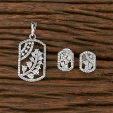 412420 Cz Classic Pendant Set With Rhodium Plating