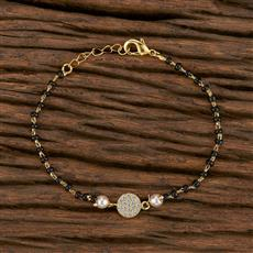 412446 Cz Hand Mangalsutra Bracelet With Gold Plating