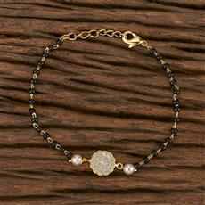 412447 Cz Hand Mangalsutra Bracelet With Gold Plating