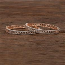 412626 Cz Openable Bangles With Rose Gold Plating