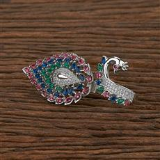 412737 Cz Peacock Ring With Rhodium Plating
