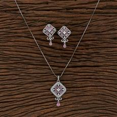 412778 Cz Classic Pendant Set With Rhodium Plating