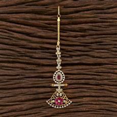 412852 Cz South Indian Tikka With Gold Plating