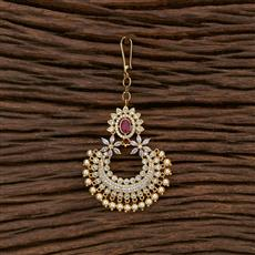 412857 Cz South Indian Tikka With Gold Plating