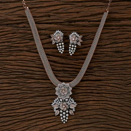 412919 Cz Classic Pendant Set With Black Rose Plating