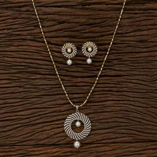 412970 Cz Classic Pendant Set With 2 Tone Plating