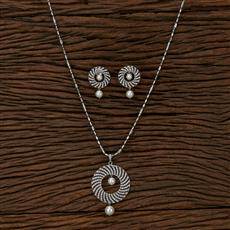 412971 Cz Classic Pendant Set With Rhodium Plating