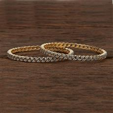 413088 Cz Classic Bangles With 2 Tone Plating