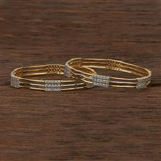 413089 Cz Classic Bangles With 2 Tone Plating