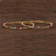 413091 Cz Classic Bangles With 2 Tone Plating