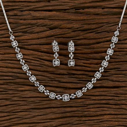 413217 Cz Classic Necklace With Rhodium Plating