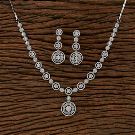 413219 Cz Classic Necklace With Rhodium Plating