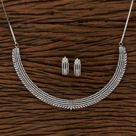 413222 Cz Classic Necklace With Rhodium Plating