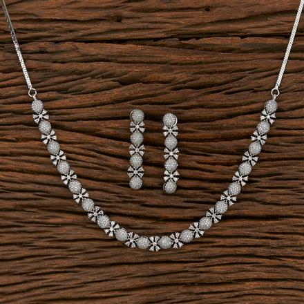 413225 Cz Classic Necklace With Rhodium Plating