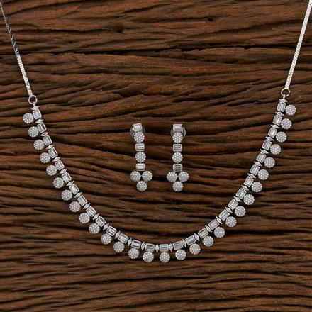 413228 Cz Classic Necklace With Rhodium Plating
