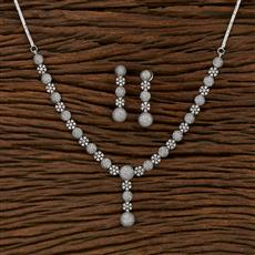 413233 Cz Classic Necklace With Rhodium Plating
