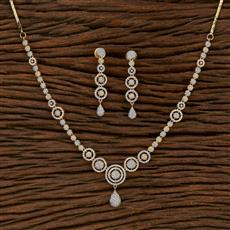 413240 Cz Classic Necklace With 2 Tone Plating