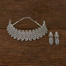 413249 Cz Choker Necklace With Rhodium Plating