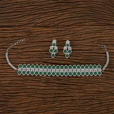 413254 Cz Choker Necklace With Rhodium Plating