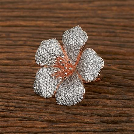 413363 Cz Classic Ring With Rose Gold Plating