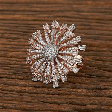 413421 Cz Classic Ring With Rose Gold Plating