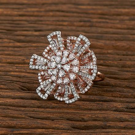 413425 Cz Classic Ring With Rose Gold Plating