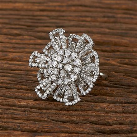 413426 Cz Classic Ring With Rhodium Plating