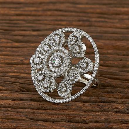 413435 Cz Classic Ring With Rhodium Plating