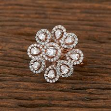 413436 Cz Classic Ring With Rose Gold Plating